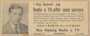 Roy Nybergs radio och tv öppningsannons Brogatan 44